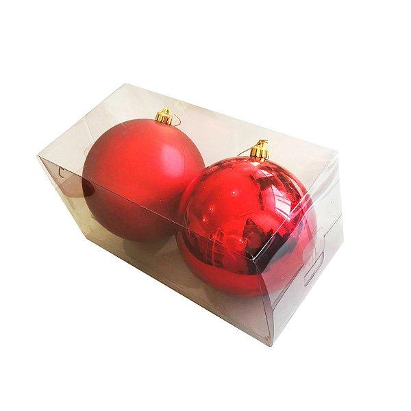 Bola natalina em caixa tons vermelho 2pçs G109259