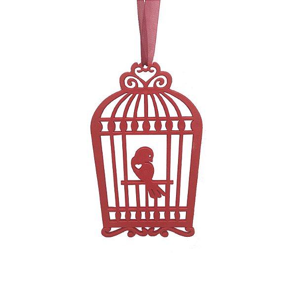 Gaiola com pássaro vermelho 3 unidades G159483