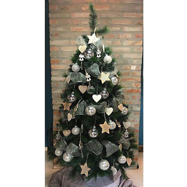 Kit árvore decorada Prata Rustica