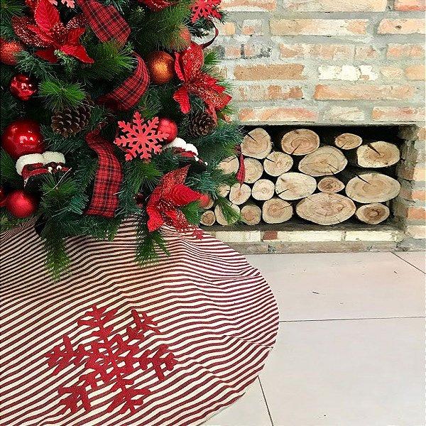Saia em tecido para árvore natalina listrada C209369