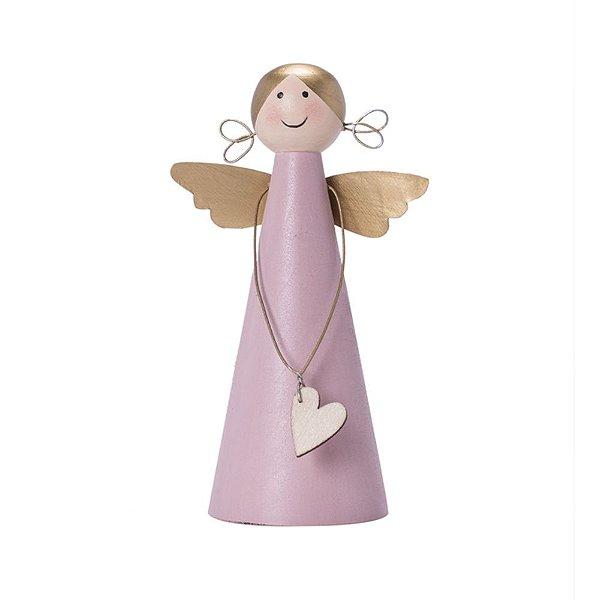 Anjo rosa com asas douradas em madeira F359490