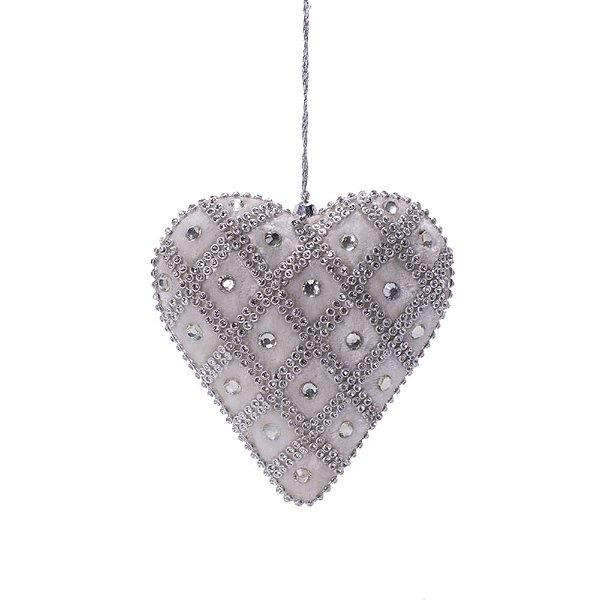 Coração em veludo branco c/pedrarias e strass p/pendurar F359675
