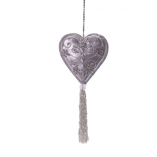 Coração prata c/ pedrarias e tassel p/pendurar F359678