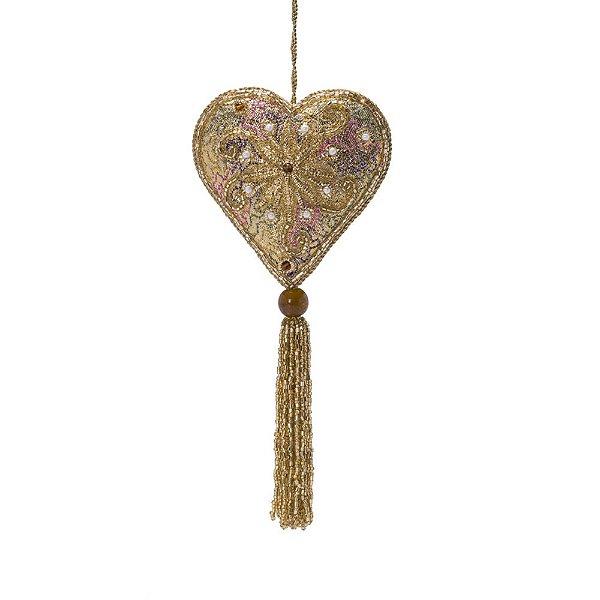 Coração dourado c/pedraria e tassel p/pendurar F359683