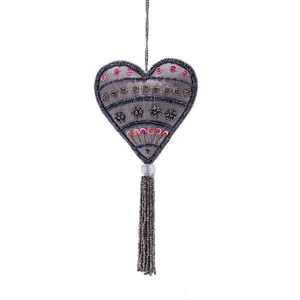 Coração azul c/pedrarias azul/rosa e tassel p/pendurar F359685