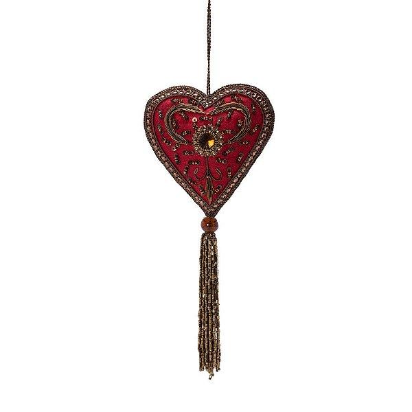 Coração vermelho c/pedrarias ouro e tasse p/pendurar F359686