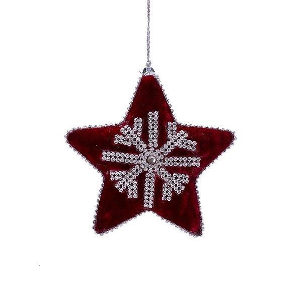 Estrela de veludo vermelha c/strass p/pendurar F359690