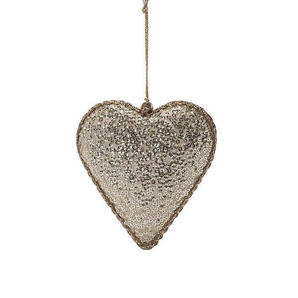 Coração dourado c/mini lantejoulas ouro p/pendurar F359692