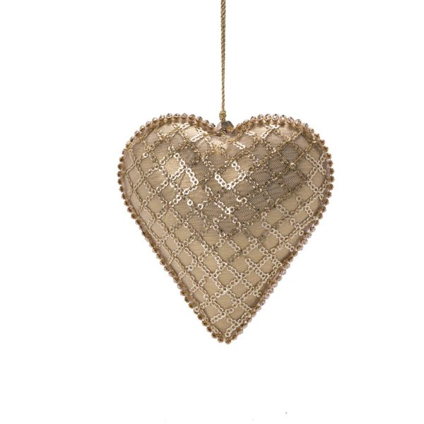 Coração dourado c/bordado ouro p/pendurar F359693