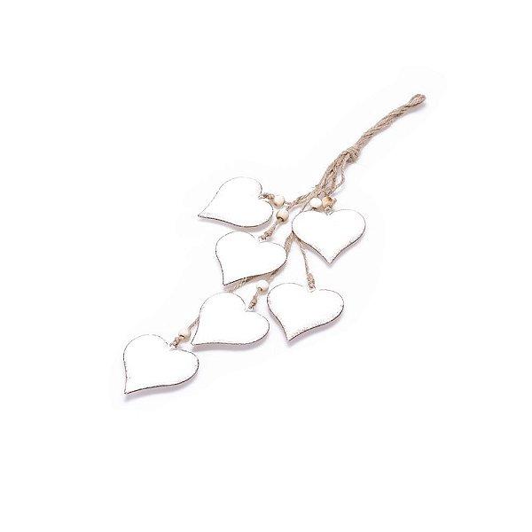 Coração Branco Antigo para pendurar em metal F359544