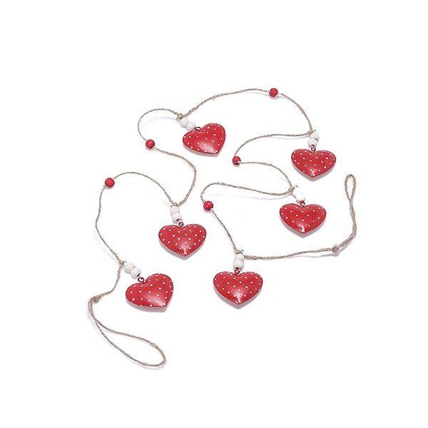 Corações vermelhos Poa Branco para pendurar em metal F359561