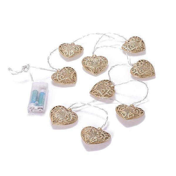 Corações Dourados em metal com luzinhas Led para pendura F359646