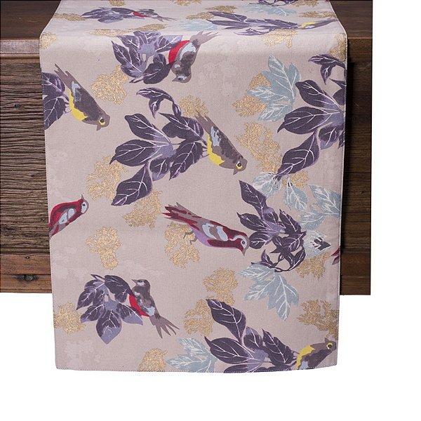 Caminho de mesa c/pássaros tons rose, lilaz e dourado C209725
