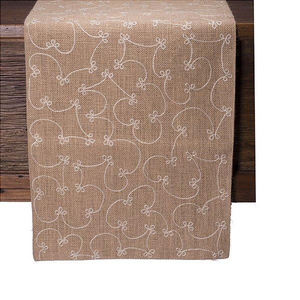 Caminho de mesa natural c/bordado branco C209726