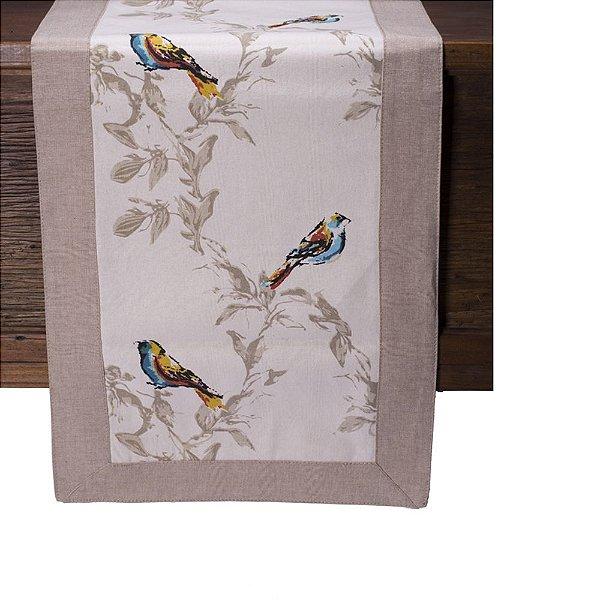 Caminho de mesa off white c/pássaros e borda bege C209727