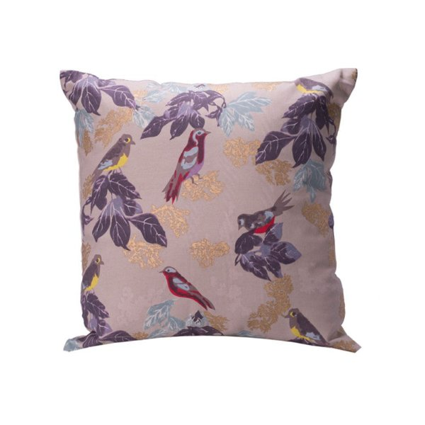Capa de almofada c/pássaros tosn rose/lilas e dourado C209751