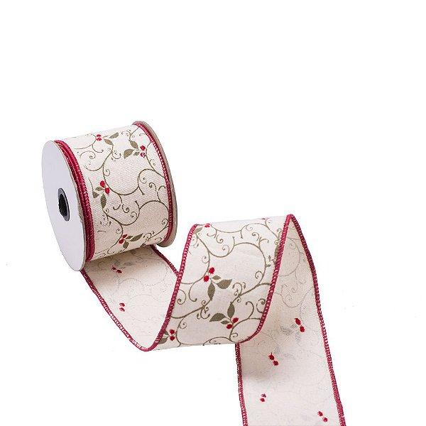 Fita aramada em linho c/arabesco bordado c/bordas vermelhas A109733