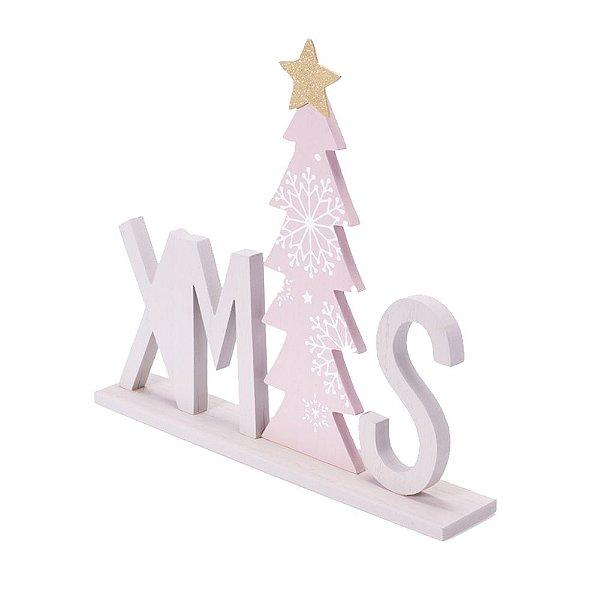 Ornamento Xmas cinza com árvore rosa em madeira F359499