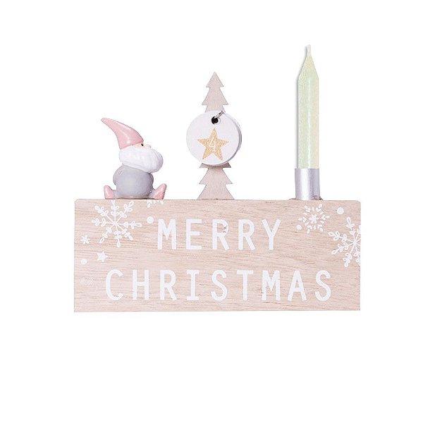 Porta velas calendário Merry Christmas tons pastel em madeira F359501