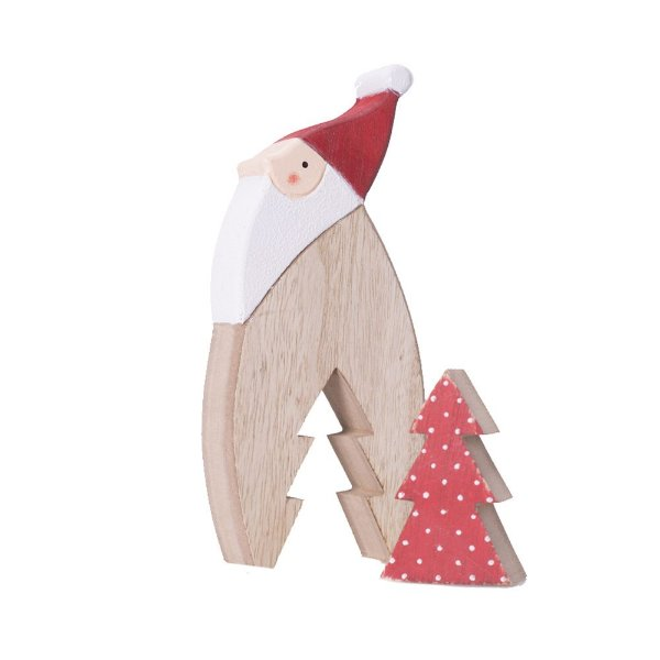 Papai noel perfil em madeira com árvore vermelha F359566