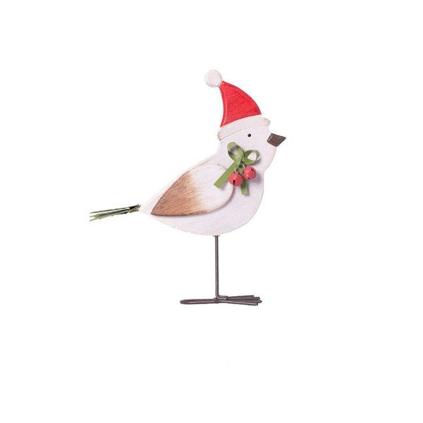 Pássaro branco com gorro em madeira P F359571