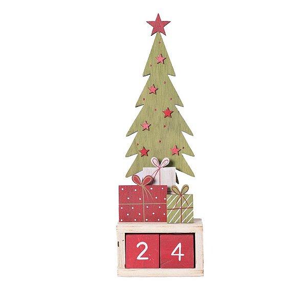 Calendário arvore de natal com presentes em madeira F359573