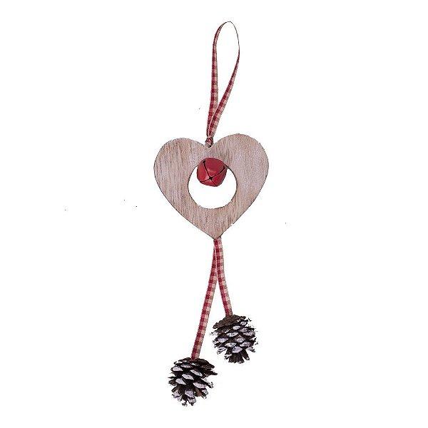 Coração para pendurar com guizo e pinhas em madeira F359576