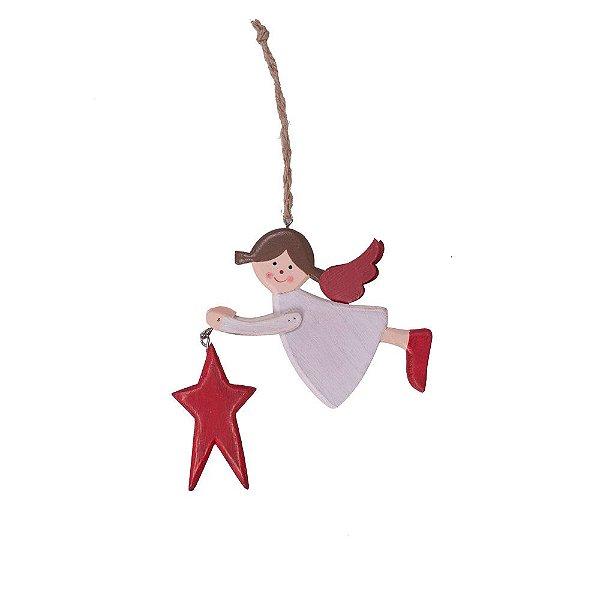 Anjo branco segurando estrela vermelha para pendurar em madeira F359582