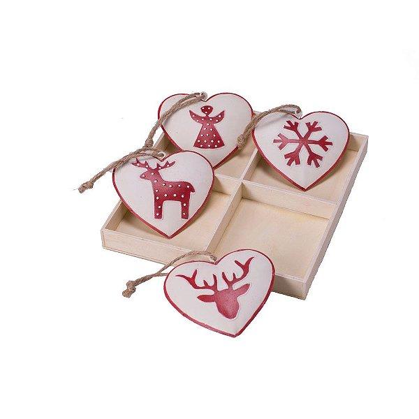 Caixa com 04 corações sortidos branco e vermelho em metal F359598