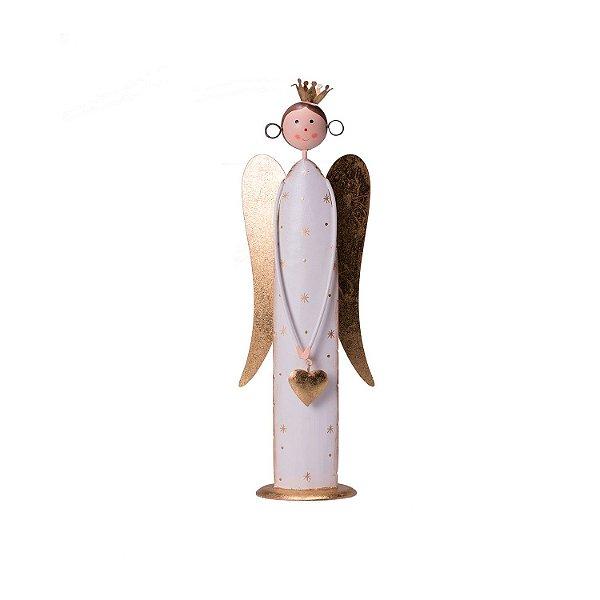 Anjo branco com asas e coroa ouro em metal M F359616
