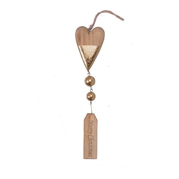 Coração com placa Merry Christmas ouro para pendurar em madeira F359639