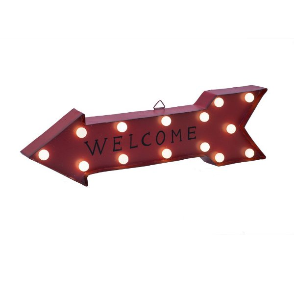 Flecha Welcome vermelha em metal com Led F359800