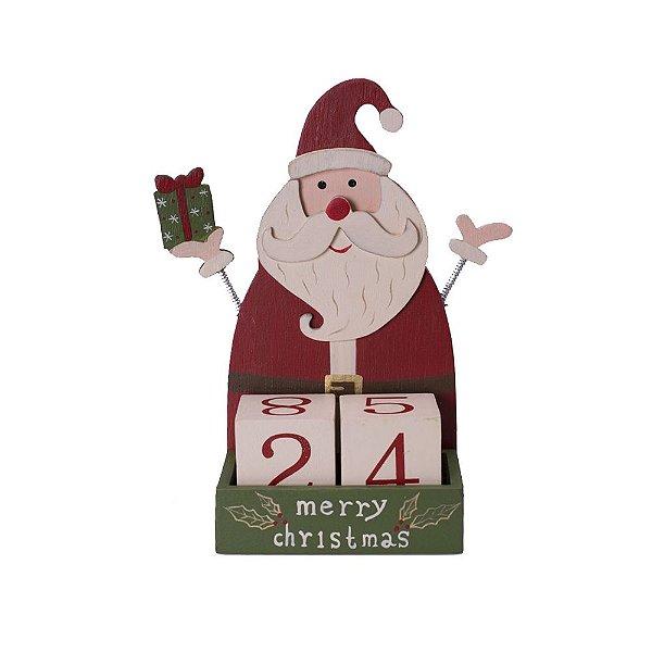 Calendário Papai Noel Vermelho em Madeira