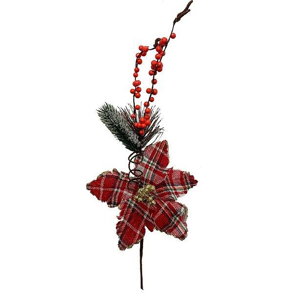 Poinsetia Xadrez Vermelha  c/ ramos e berries G200654