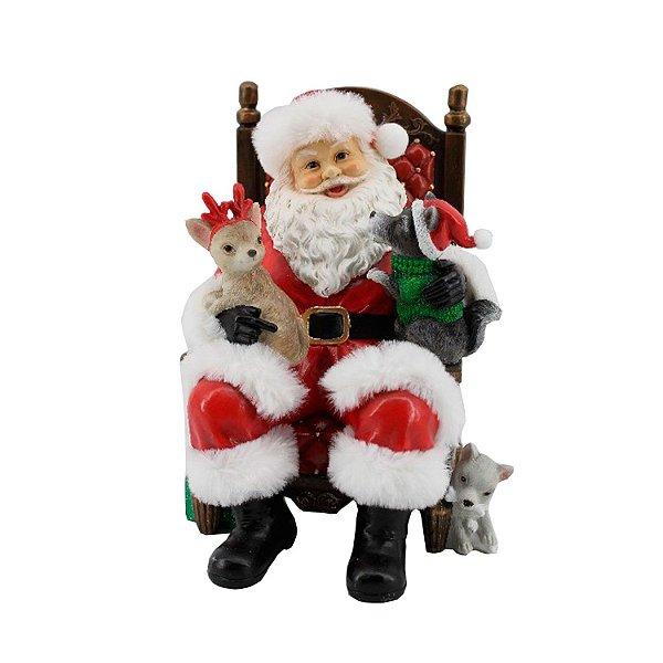 Noel na Poltrona com pets em poliresina F359987