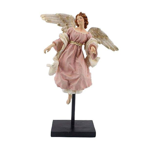 Anjo rosê no pedestal em poliresina F359993