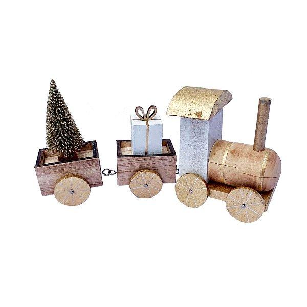 Locomotiva branca/ouro c/ presentes e arvore em madeira F350858