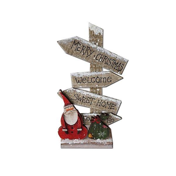 Noel com placas em madeira vermelho e natural F350862