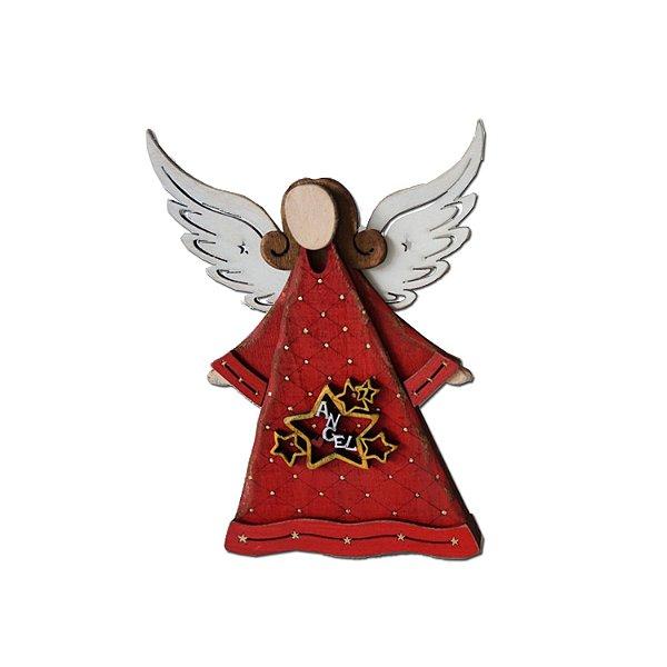 Anjo em madeira vermelho com estrela F350863