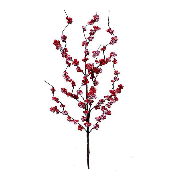 Galho berries vermelhos nevados G200755