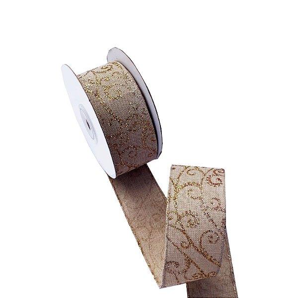 Fita aramada cru com design Arabescos dourados A100684