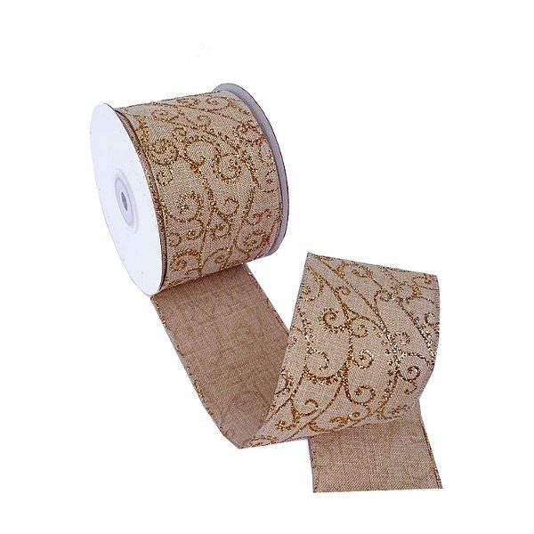 Fita aramada cru com design Arabescos dourados A100685
