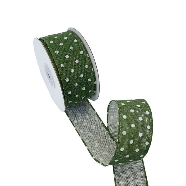 Fita linho aramada verde com poá branco A100723