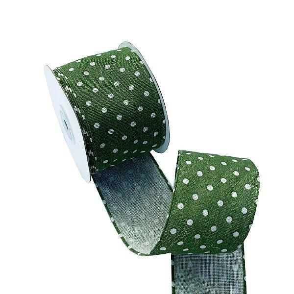 Fita linho aramada verde com poá branco A100724