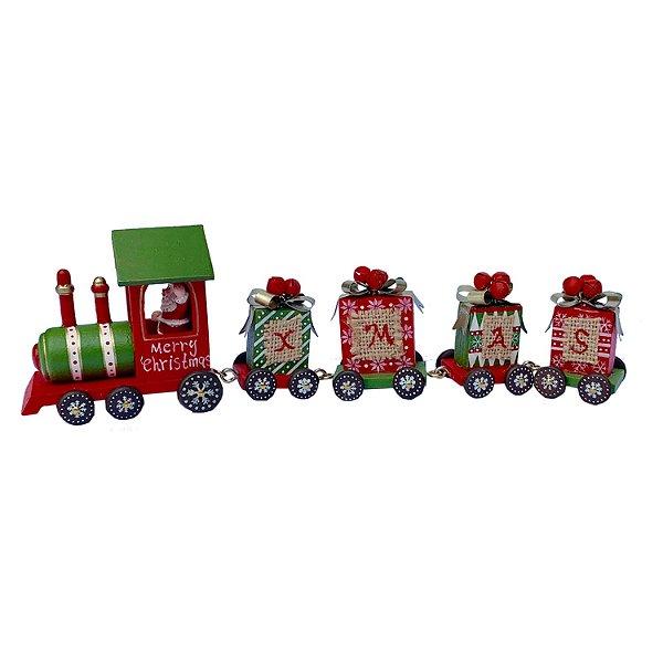 Locomotiva em madeira vermelha e verde F350891