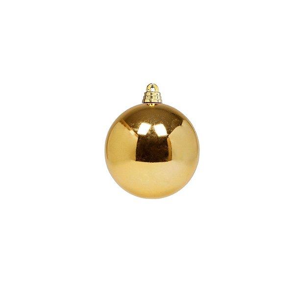 Bola ouro brilho 6cm com 6 unidades