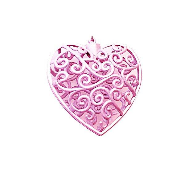 Coração Rosa Arabesco 10x10cm - G150982