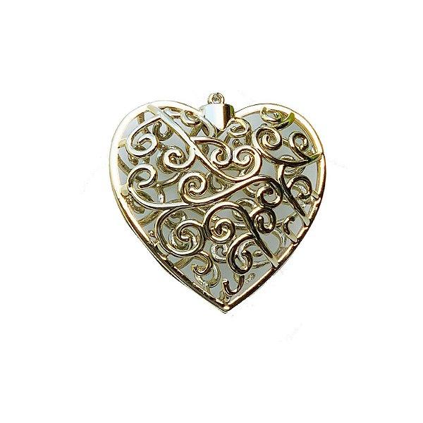 Coração Ouro Brilho Arabesco 10x10cm - G150988