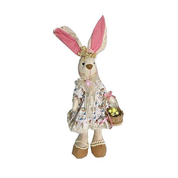 Coelha de pano com vestido e cesta ovinhos A300011