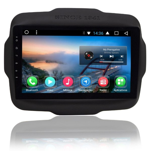 "Central Multimídia Jeep Renegade Android tela de 9"" -TV, Wifi e espelhamento"